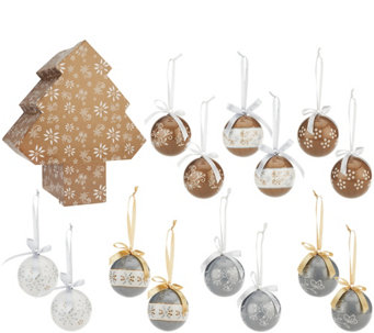 Temp-tations 14-piece Decoupage Ornament Set in Storage Box - H206305