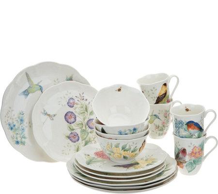 lenox butterfly meadow porcelain flutter 16pc dinnerware set - Lenox Dinnerware