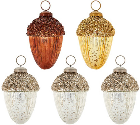 ED On Air S/5 Metallic Acorn Ornaments by Ellen DeGeneres