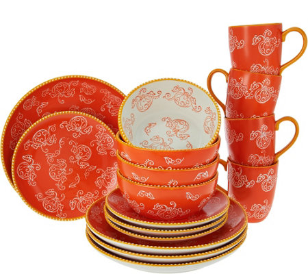 """As Is"" Temp-tations Floral Lace 16 pc. Dinnerware Set"