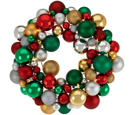 "16"" Illuminated Ornament Wreath by Valerie"