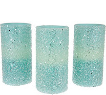 Set of (3) Pearlescent Flameless Candles By Valerie - H212005