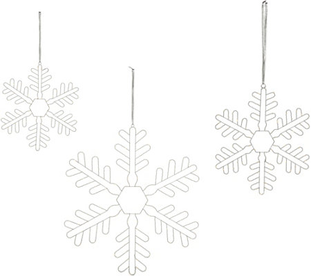 """As Is"" Santa's Best Set of 3 Oversized LED Twinkling Snowflakes"