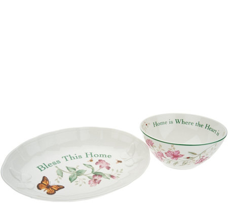 Lenox Butterfly Meadow Porcelain Bowl & Tray