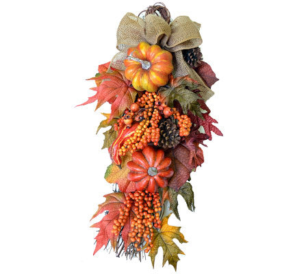 "30"" Fall Door Swag with Burlap Bow by Valerie Parr Hill"