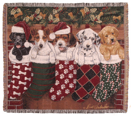 Christmas Puppies Throw by Simply Home