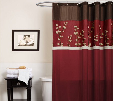 Cocoa Flower Red Shower Curtain by Lush Decor