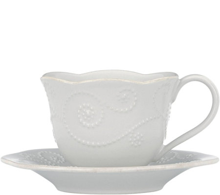 Lenox French Perle Cup and Saucer Set - White