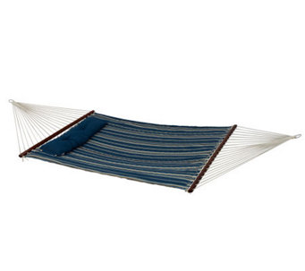 Bliss Hammocks Quilted Hammock w/ Detach Pillow- Blue Stripe - H363605