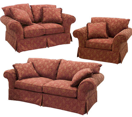 Truemark Red 8 Way Hand Tied Sofa, Loveseat And Chair