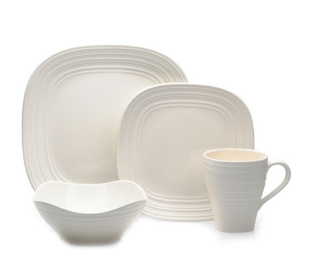Mikasa Swirl Square 4 Piece Place Setting - White