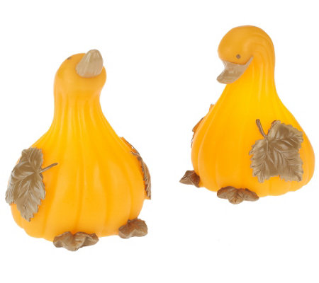 Set of 2 Candle Impressions Flameless Duck Gourds or Pumpkin Owls