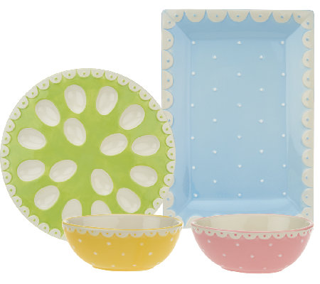 4-piece Swiss Dot Entertaining Set by Valerie