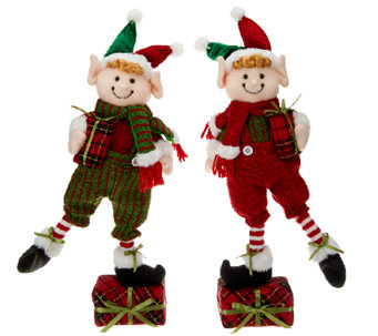 Set of 2 Plush Holiday Figures by Valerie - H205306
