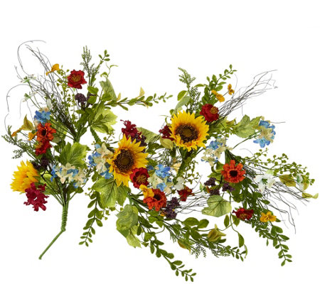 Wildflower with Sunflowers and Dogwood Garland by Valerie