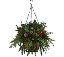 Bethlehem Lights Prelit Indoor/Outdoor Mixed Cedar Hanging Basket - H211706