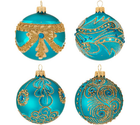 Hallmark Heritage S/4 Blown Glass Ornaments with Glitter Accents