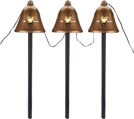 """As Is"" Mr. Christmas S/3 Illuminated Musical Pathway Bells"