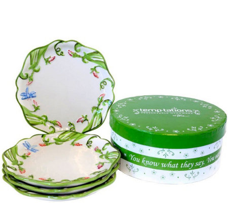 Temp-tations Dragonfly Set of Four Dessert Plates