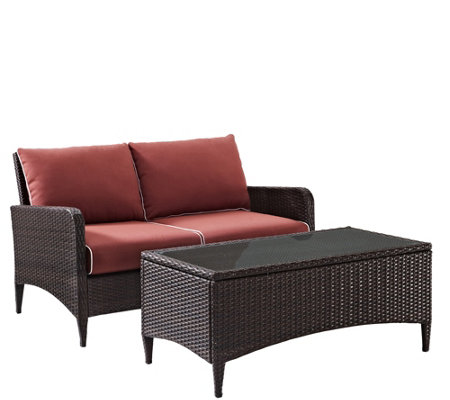 Kiawah 2-pc Outdoor Wicker Seating Set with Sangria Cushions