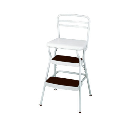 Cosco White Retro Counter Chair / Step Stool with Lift-up Sea