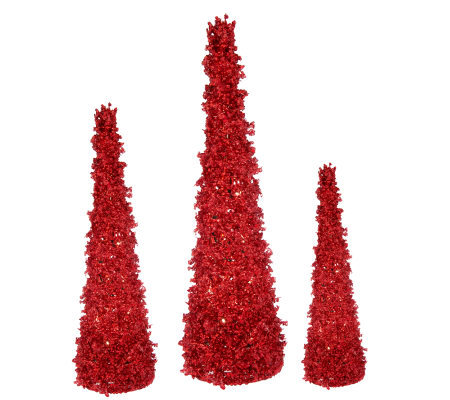 Set of 3 Prelit Cone-Shaped Glittered Trees by Valerie