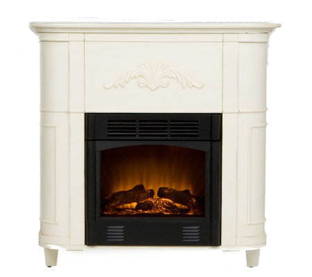 Fulton Antiqued White Electric Fireplace Page 1 — QVC