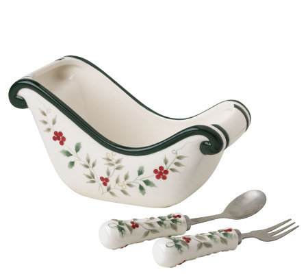 Pfaltzgraff Winterberry Sled Shaped Dish w/ fork and spoon