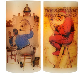 Candle Impressions S/2 Norman Rockwell Flameless Candles w/Timer - H203107