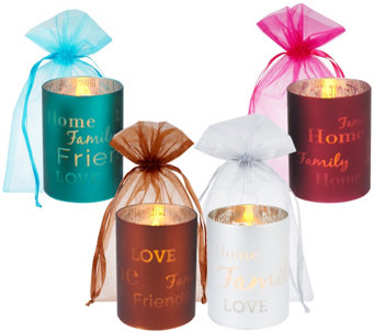 """As Is"" Set of 4 Glass ""Words To Live By"" Flameless Candles - H205107"