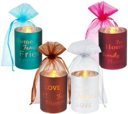 """As Is"" Set of 4 Glass ""Words To Live By"" Flameless Candles"