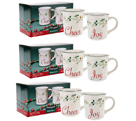 Winterberry by Pfaltzgraff Set of 6 Mug Set w/ Gift Boxes