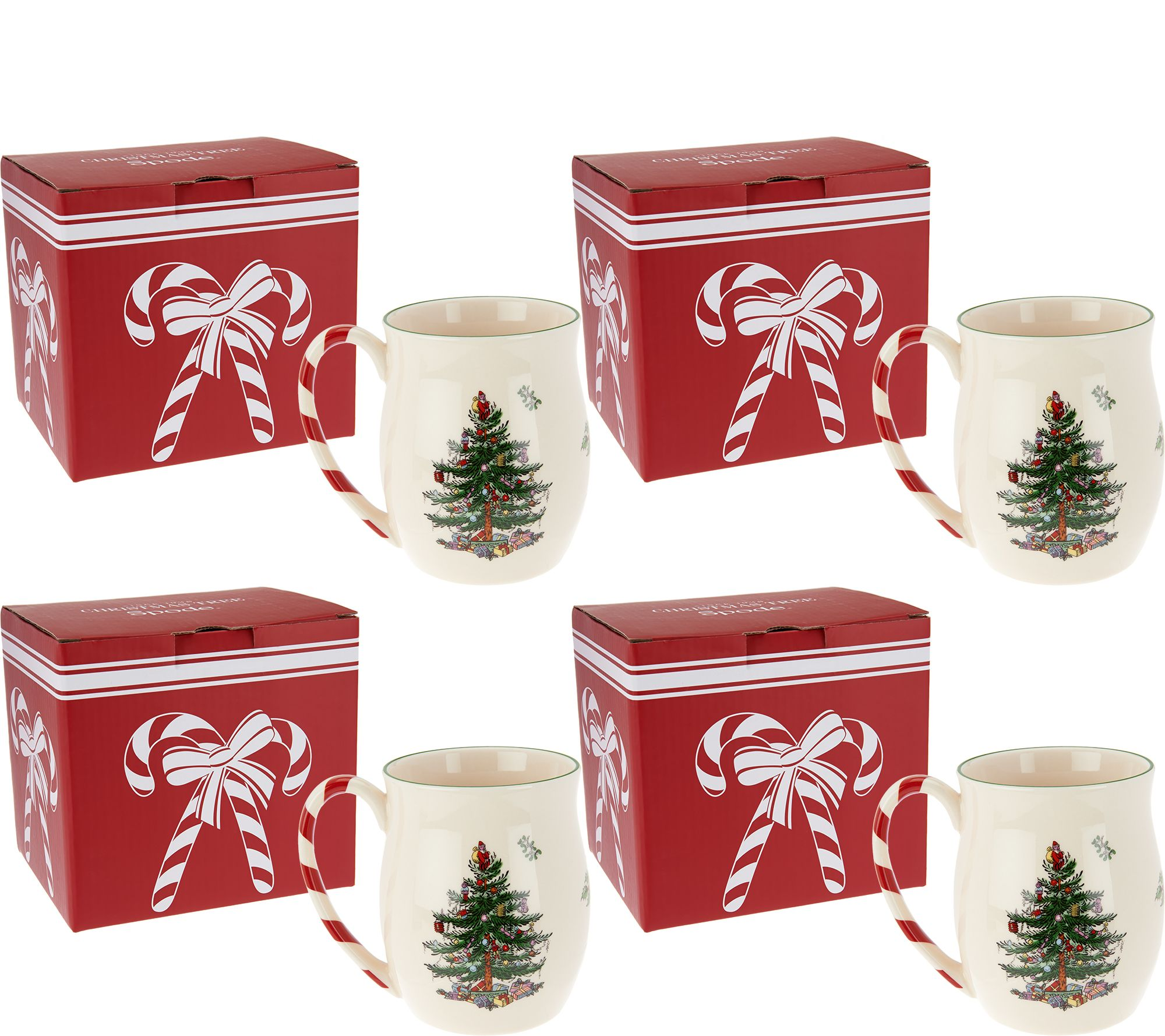 Spode Christmas Tree Set of 4 Mugs in Gift Boxes - Page 1 — QVC.com