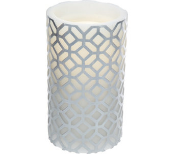 "7.8"" Bethlehem Lights Aqua Flame Embossed Pattern Candle and Fountain - H209007"
