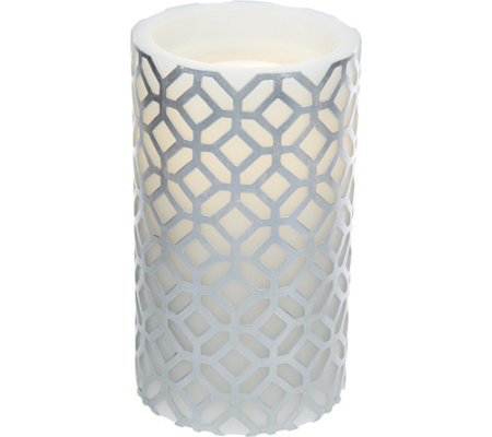 "7.8"" Bethlehem Lights Aqua Flame Embossed Pattern Candle and Fountain"