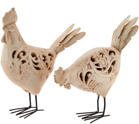 Set of 2 Whitewash Carved Animals by Valerie