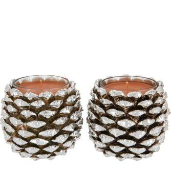 HomeWorx by Harry Slatkin Set of 2 Silver Pinecone Candles