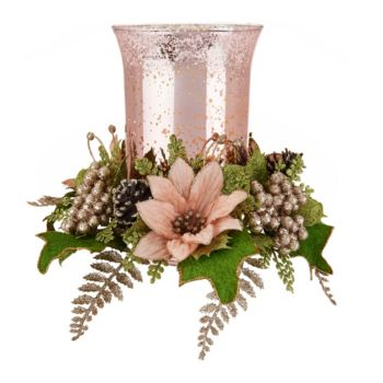 8 Illuminated Vintage Glass Hurricane with Floral Ring Auto-Delivery