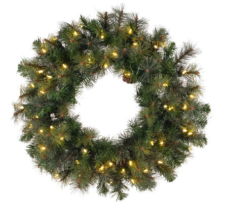 "72"" Prelit Modesto Pine Wreath w/ LED Lights byVickerman"