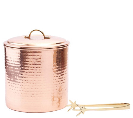 Old Dutch International Hammered Copper-PlatedIce Bucket Set