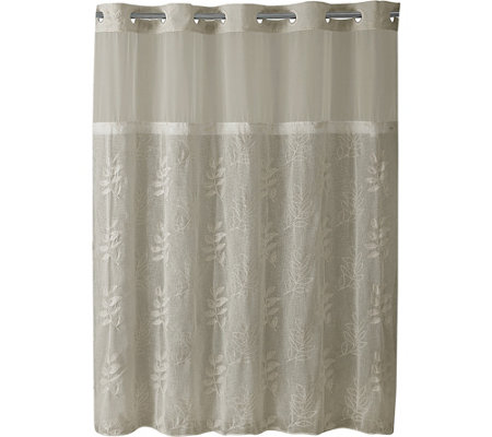 Hookless Palm Leaves Shower Curtain and Liner