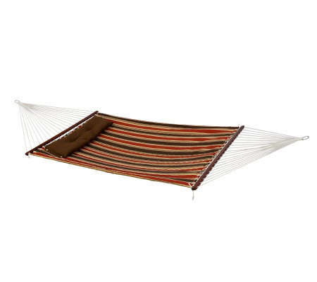 Bliss Hammocks Quilted Hammock w/ Detach Pillow- Dark Stripe