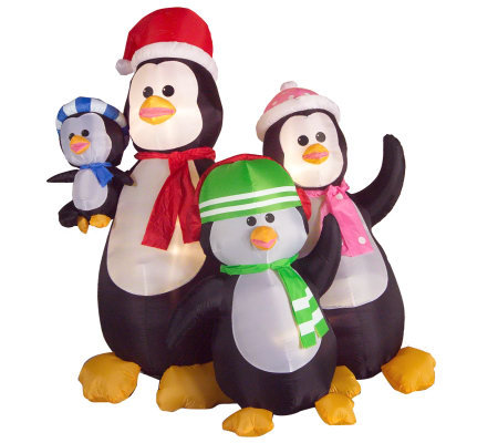 Penguin Family Inflatable Lawn Ornament