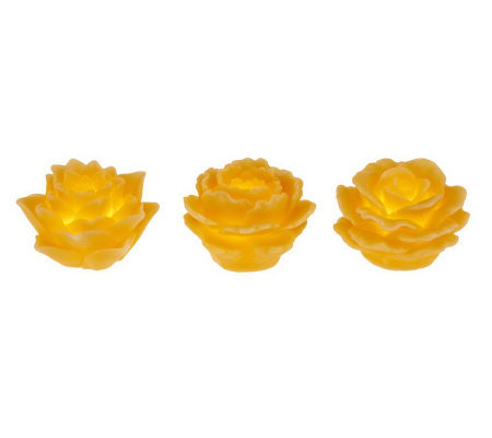 Home Reflections S/3 Flameless Floating Flower Candles w/Timer