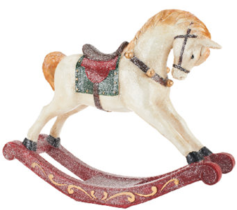 """As Is"" 18"" Glittered Handpainted Rocking Horse by Valerie - H205208"