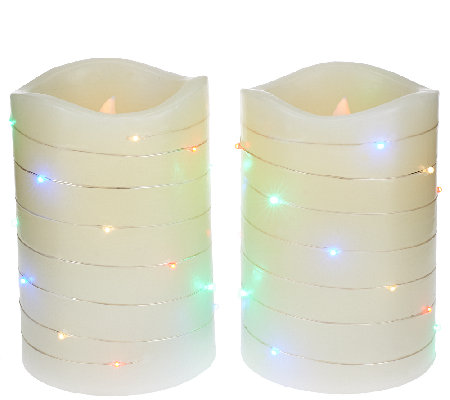 """As Is"" Lightscapes (2) 5"" Swirl Light Pillar FlamelessCandle"
