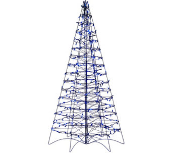 """As Is"" Pre-Lit LED 5' Fold Flat Outdoor Christmas Tree by Lori Greiner - H208408"