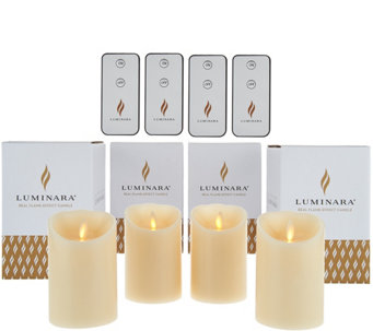 "Luminara (4) 4"" Flameless Unscented Candles with 4 Remotes - H210508"