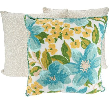 Qvc Decorative Pillows : Vivere Home Set of 3 Decorative Chainstitch Throw Pillows - Page 1 ? QVC.com