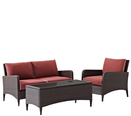 Kiawah 3-pc Outdoor Wicker Seating Set w/ Sangria Cushions